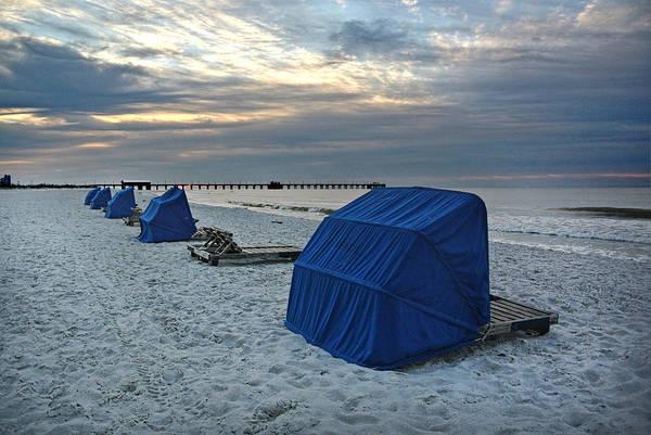 Digital Art - Blue Beach Chairs by Michael Thomas