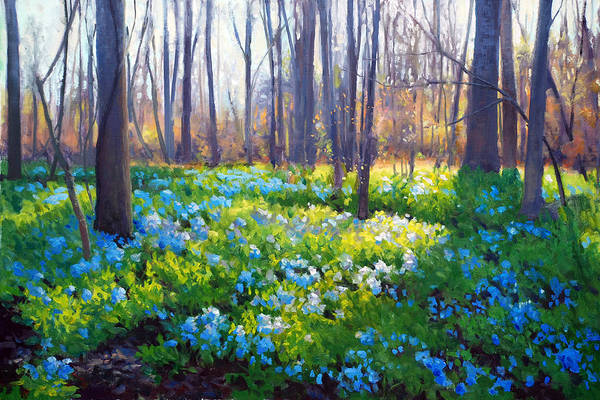 Roanoke Wall Art - Painting - Blue Bells by Armand Cabrera