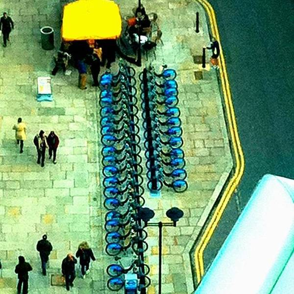 Abstract Skyline Wall Art - Photograph - Blue Bikes: Saffron Stripes by Urbane Alien
