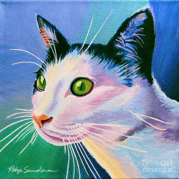 Painting - Blue Black And White Cat by Robyn Saunders