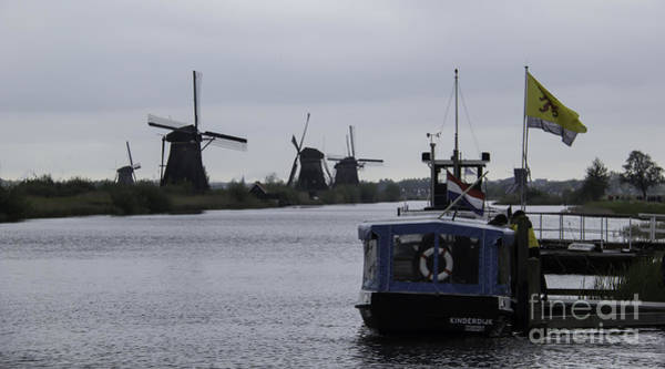 Noord Holland Wall Art - Photograph - Blue Boat 2 Kinderdijk by Teresa Mucha