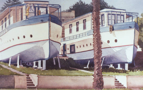 Wall Art - Painting - Blue Boat Apartments Encinitas by Mary Helmreich