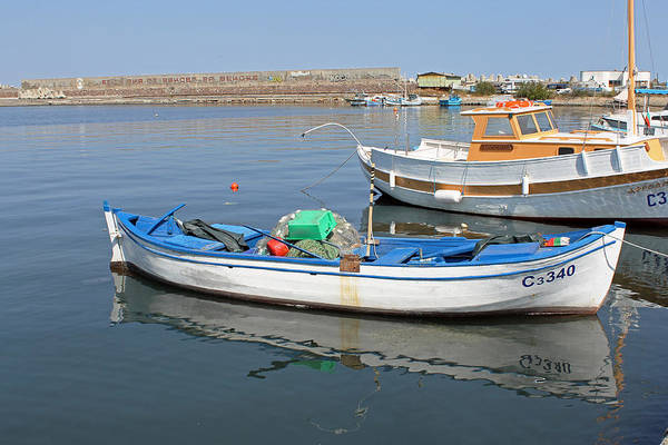 Photograph - Blue Boat In Sozopol Harbour by Tony Murtagh