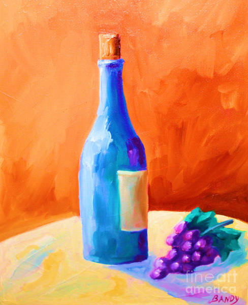 Vino Painting - Blue Bottle by Todd Bandy