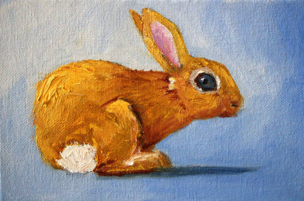 Wall Art - Painting - Blue Bunny by Nancy Merkle