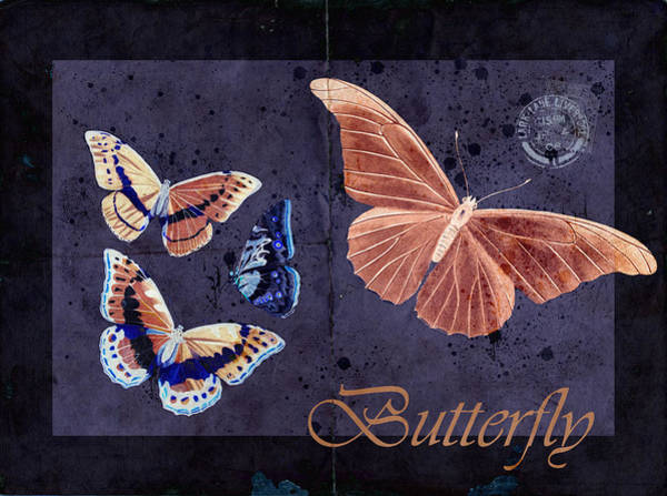 Orange Butterfly Digital Art - Blue Butterfly Etc - S044a by Variance Collections