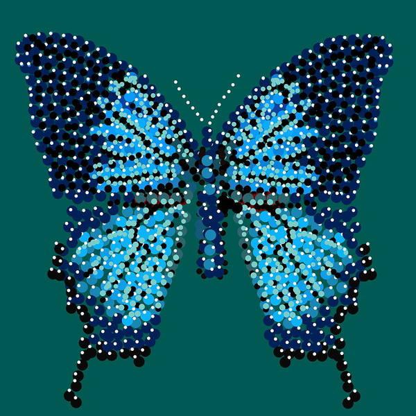 Digital Art - Blue Butterfly Green Background by R  Allen Swezey