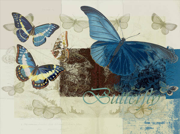 Wall Art - Digital Art - Blue Butterfly - J152164152-01 by Variance Collections