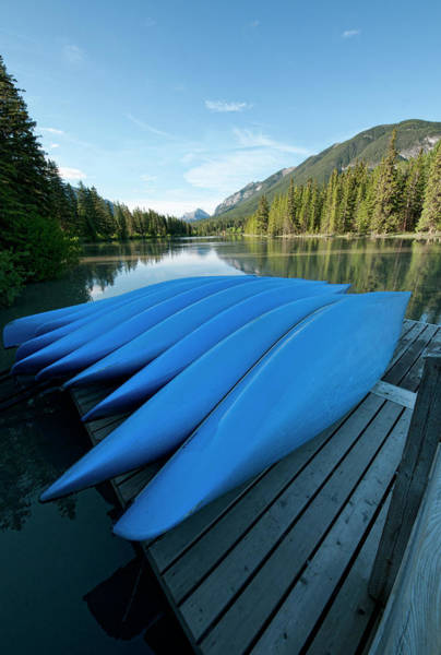Canoe Photograph - Blue Canoes by Brook Tyler Photography