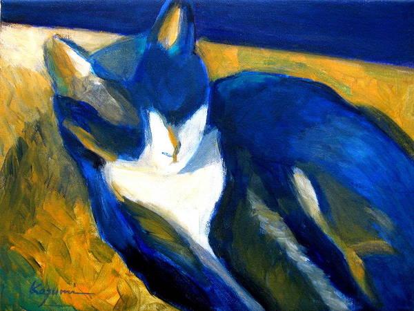 Painting - Blue Cat by Kazumi Whitemoon