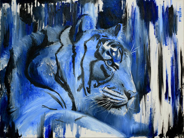 Painting - Blue Cat by Rafay Zafer