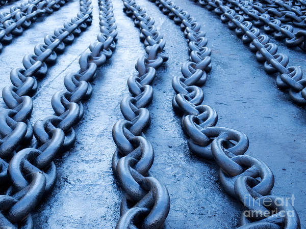 Chain Link Photograph - Blue Chain by Sinisa Botas