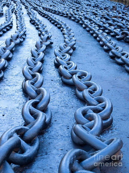 Chain Link Photograph - Blue Chains by Sinisa Botas