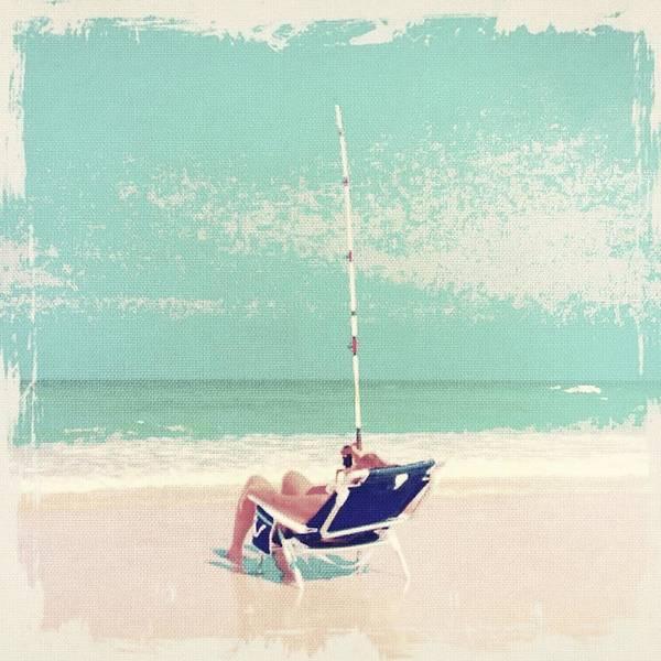 Fishing Pole Digital Art - Blue Chair Fishing by Elaine Hebert