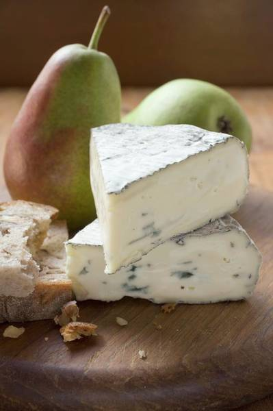 Wall Art - Photograph - Blue Cheese (bresse Bleu, France) Pears, Bread by Foodcollection