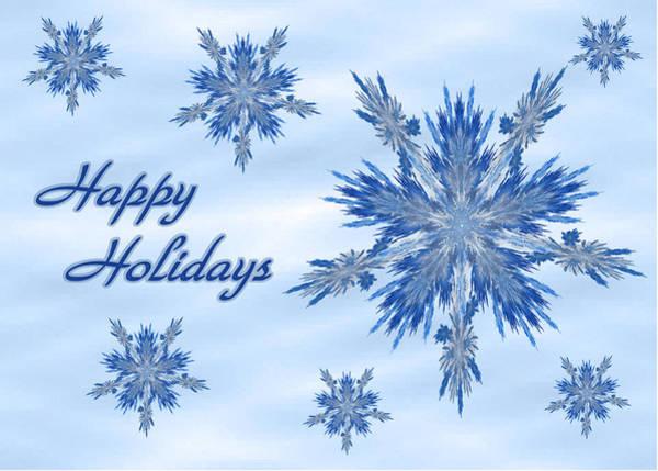 Digital Art - Blue Christmas Card by Sandy Keeton