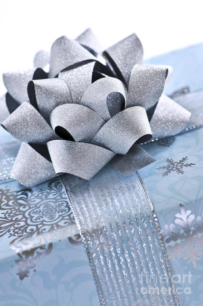 Gift Wrap Photograph - Blue Christmas Gift by Elena Elisseeva