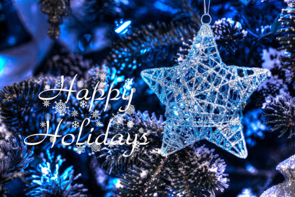 Photograph - Blue Christmas - Happy Holidays by Shelley Neff