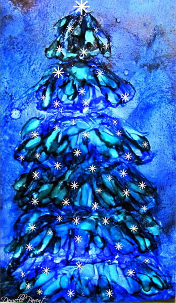 Blue Christmas Tree Alcohol Inks  Art Print