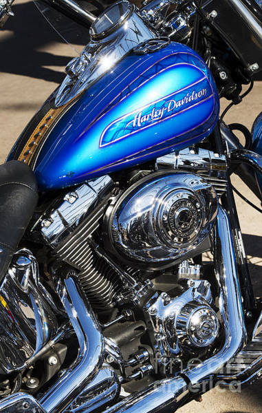 Chrome Engine Photograph - Blue Chromed Harley by Tim Gainey