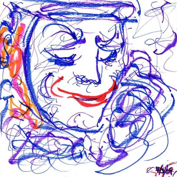 Drawing - Blue Clown by Rachel Scott