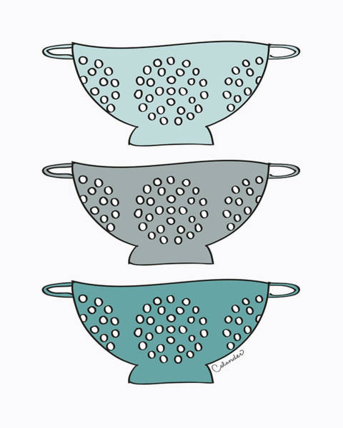Colander Wall Art - Painting - Blue Colander by Amy Cummings