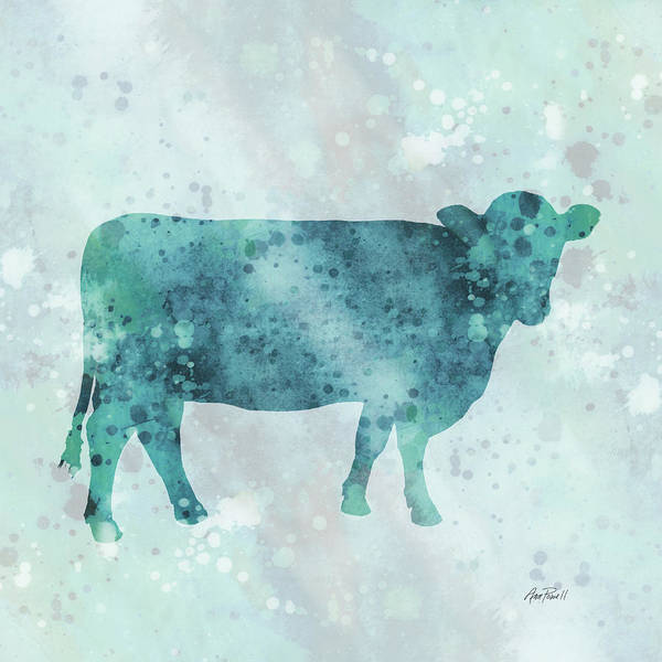 Teal Mixed Media - Blue Color Splash Cow by Ann Powell