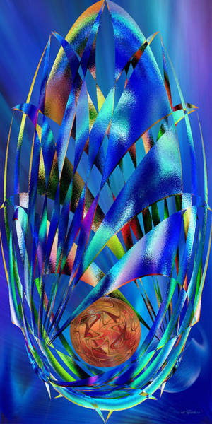 Blue Cosmic Egg - Abstract Art Print