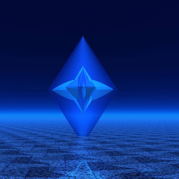 Digital Art - Blue Crystal Abstract by Judi Suni Hall