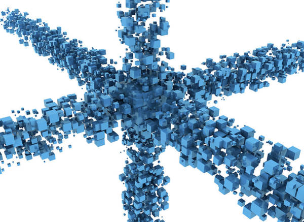 Wall Art - Photograph - Blue Cubes Making A Star Shape by Jesper Klausen / Science Photo Library