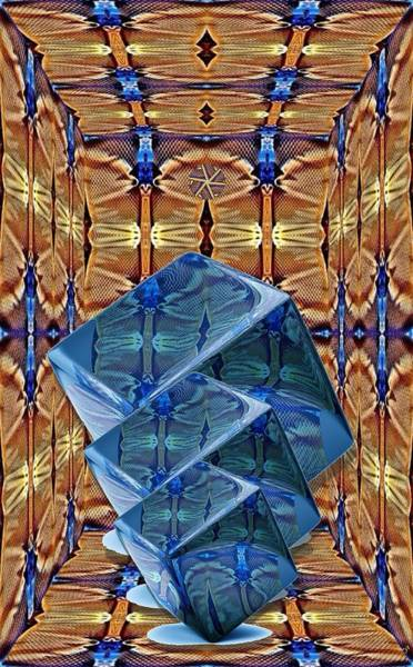 Manipulated Digital Art - Blue Cubes by Ron Bissett