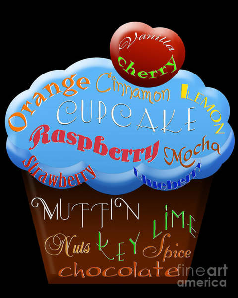 Digital Art - Blue Cupcake Typography by Andee Design