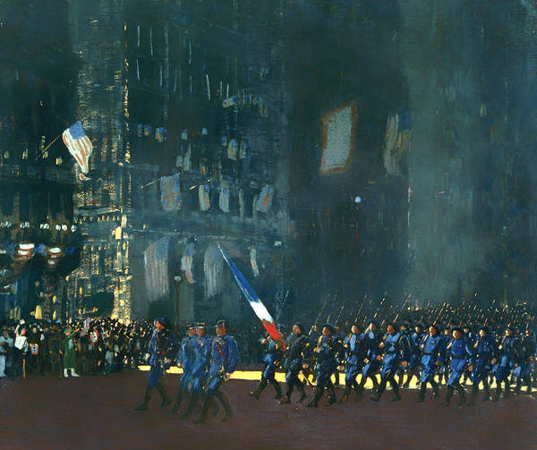 I Dream Painting - Blue Devils On Fifth Avenue 1918 by Mountain Dreams