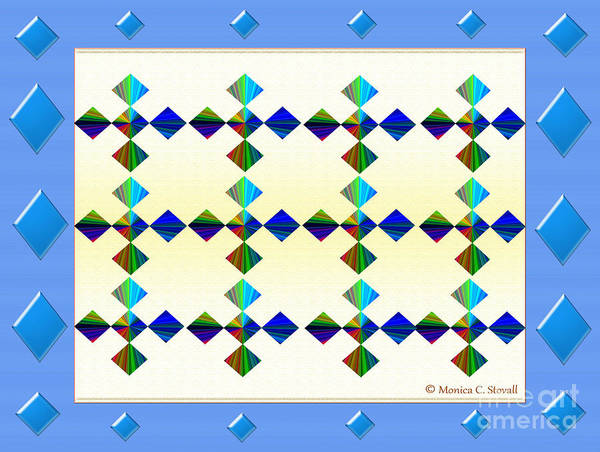 Digital Art - Blue Diamonds Surround Design by Monica C Stovall