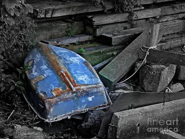 Aft Photograph - Blue Dinghy by Marcia Lee Jones