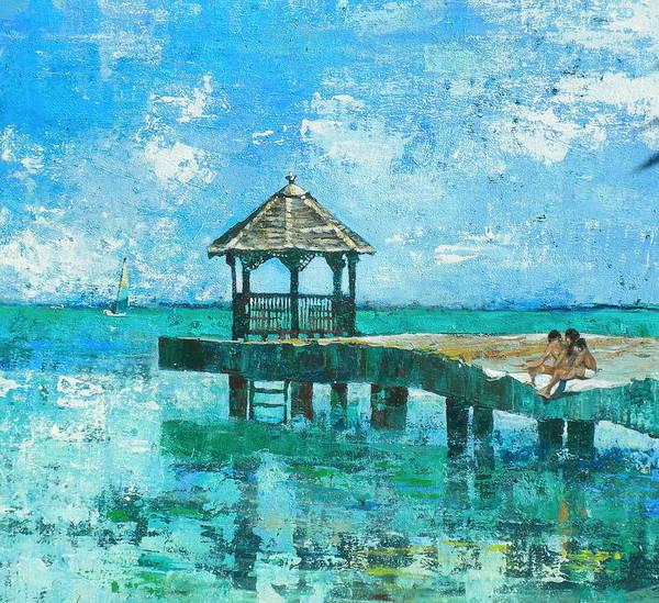 Caribbean Wall Art - Painting - blue Dock by Jan Farara