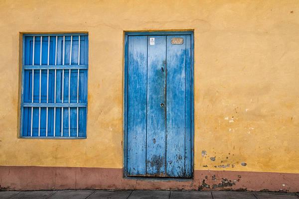 Blue Door And Window Art Print