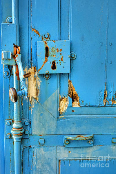 Latch Wall Art - Photograph - Blue Door Blues by Olivier Le Queinec