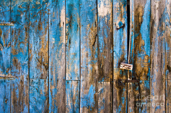 Wood Planks Photograph - Blue Door by Delphimages Photo Creations