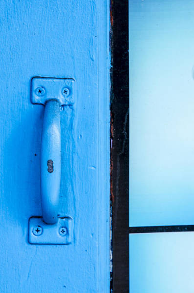 Photograph - Blue Door Handle by Carolyn Marshall