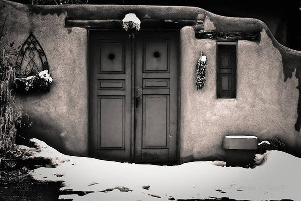 Photograph - Blue Door In Sepia Gold by Charles Muhle