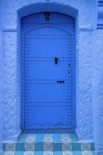 Chefchaouen Wall Art - Photograph - Blue Door To House, Chefchaouen, Morocco by Danita Delimont