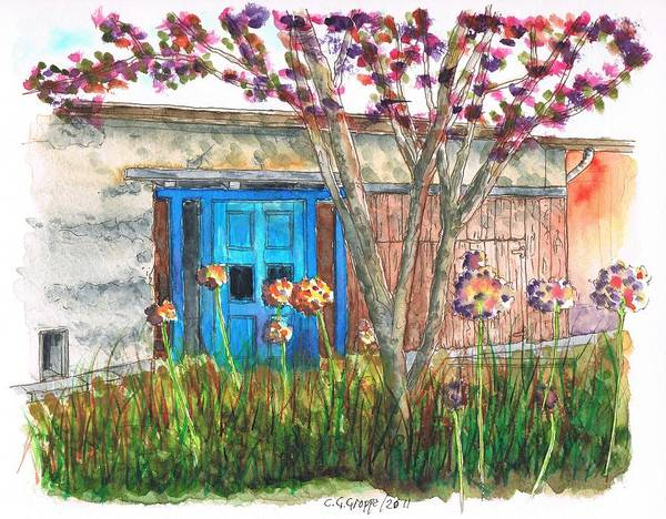 Acuarela Painting - Blue Door With A Tree by Carlos G Groppa