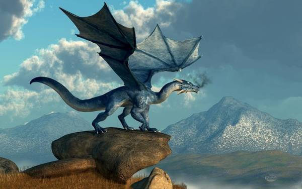 Digital Art - Blue Dragon by Daniel Eskridge