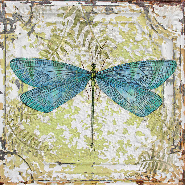 Ceiling Painting - Blue Dragonfly On Vintage Tin by Jean Plout