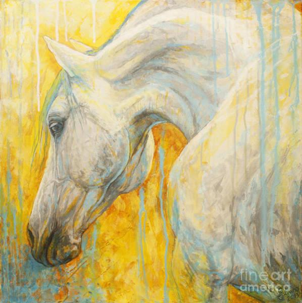 Horse Head Painting - Blue Dreaming by Silvana Gabudean Dobre