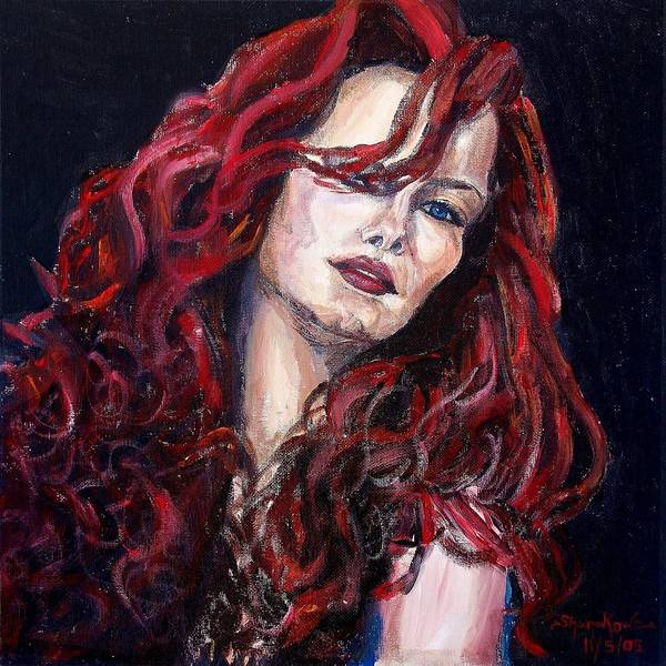 Flirtatious Painting - Blue Eyed And Beautiful by Shana Rowe Jackson