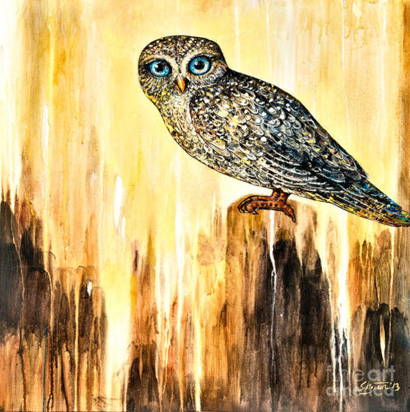 Wall Art - Painting - Blue Eyed Owl by Shijun Munns