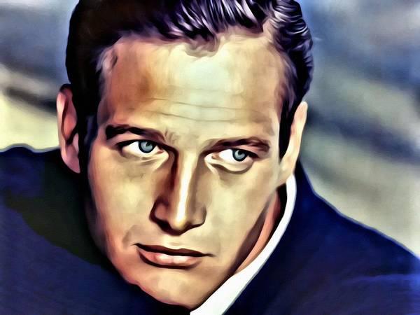 Painting - Blue Eyes Paul Newman by Florian Rodarte