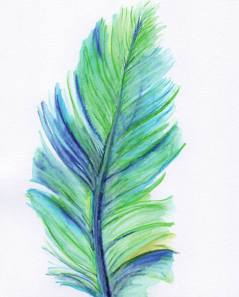 Wall Art - Painting - Blue Feather by Anne Seay